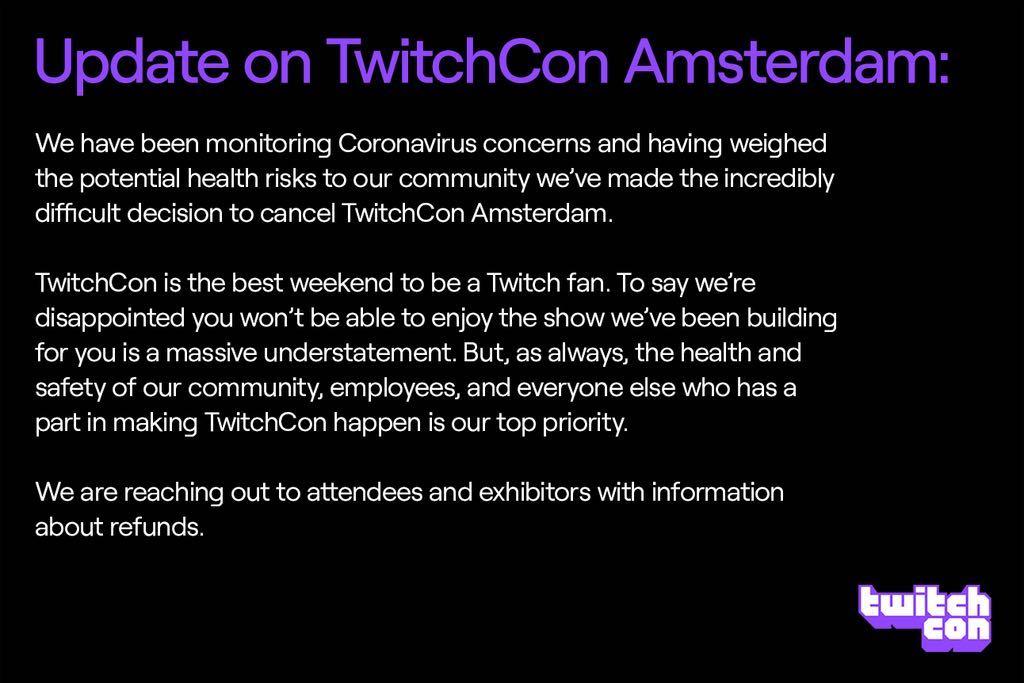 Offizielle Stellungnahme der TwitchCon 2020 zur aktuellen Lage