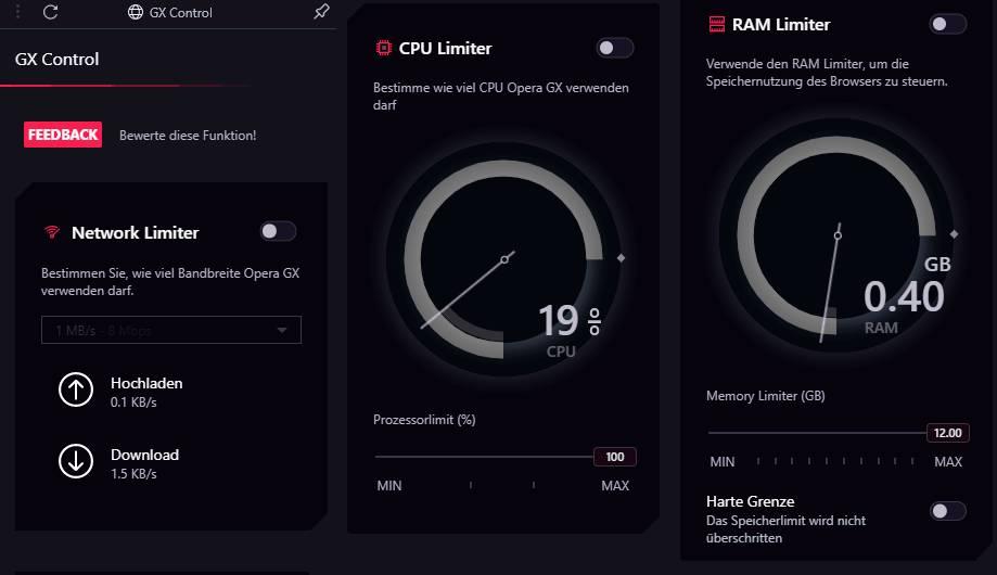 Opera GX Gaming Browser GX Control