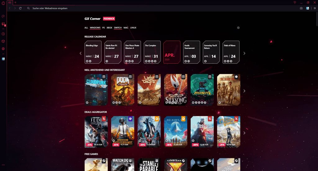 Opera GX Gaming Browser GX Corner