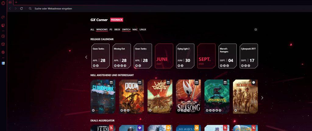 Opera GX Gaming Browser Twitch Integration Schritt 1
