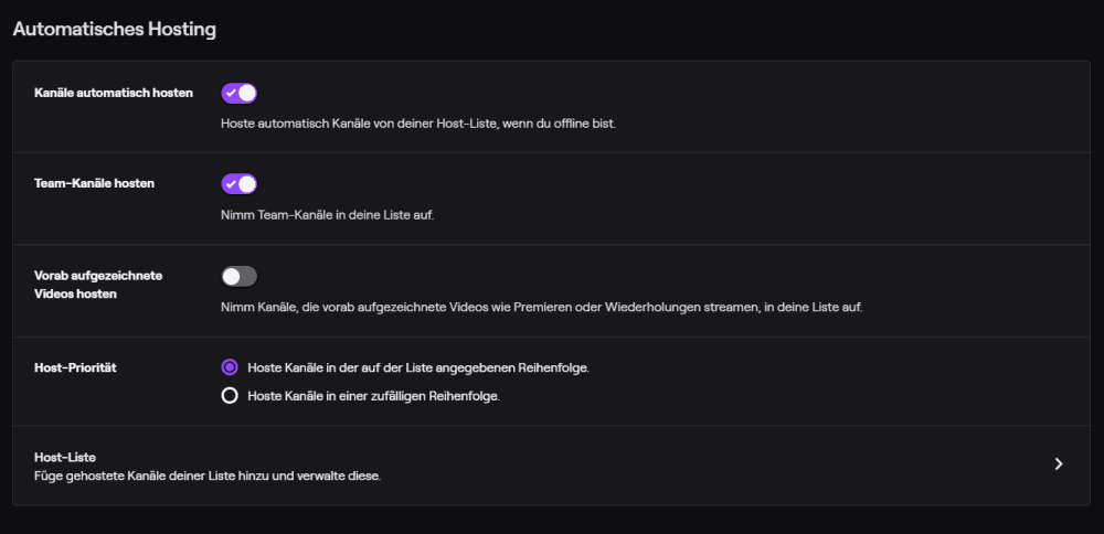 Auf Twitch hosten dank zahlreicher Einstellungsmöglichkeiten