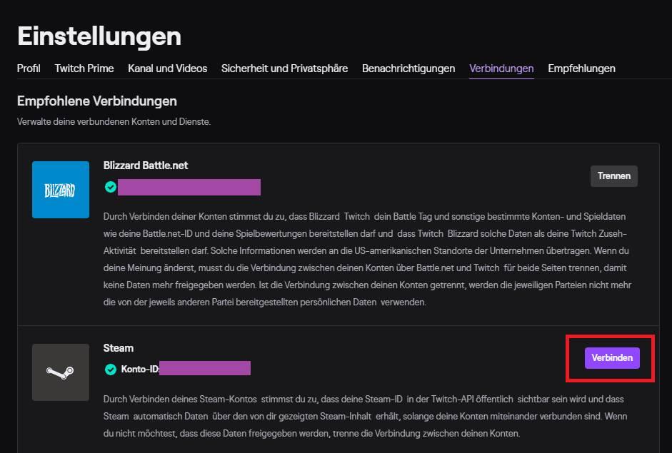 Steam mit Twitch verbinden im Webbrowser