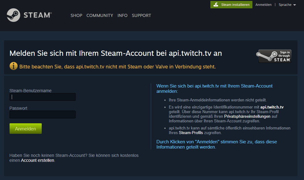 Steam Login via Twitch im Webbrowser