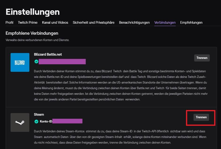 Twitch mit Steam Verbindung trennen