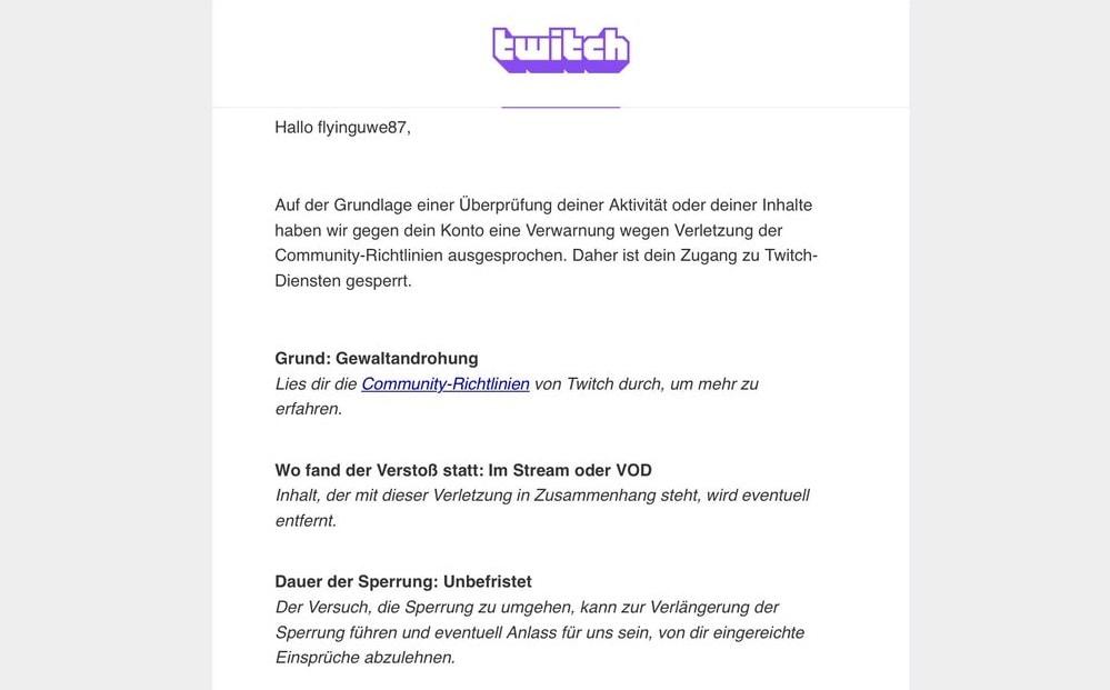 Die erste Nachricht, die Flying Uwe von Twitch erhielt