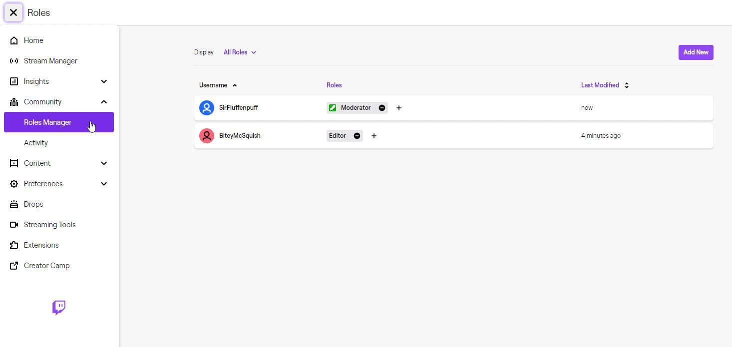 Twitch Moderator vergeben über das Dashboard