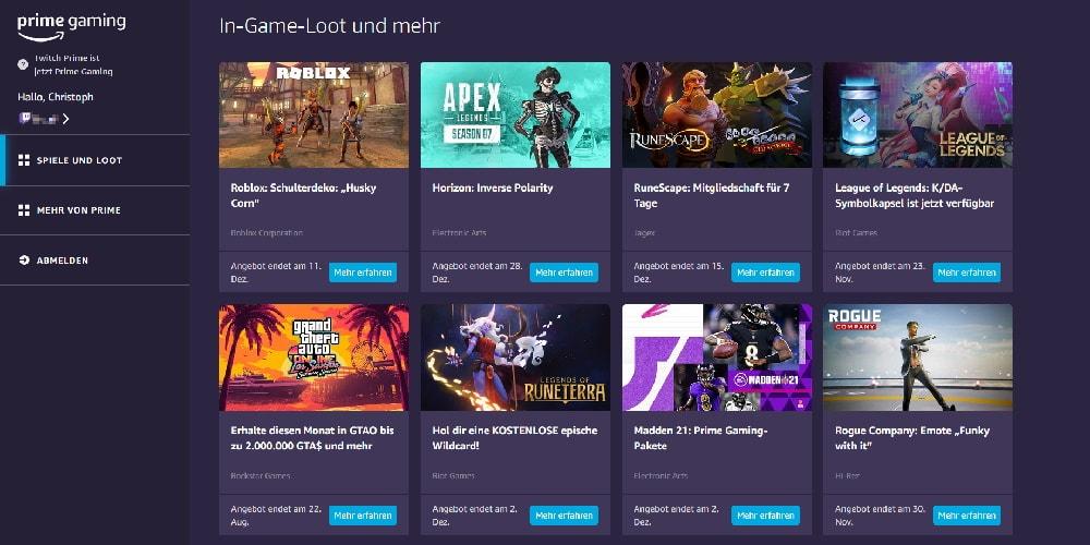 Ein Vorteil von Prime Gaming gegenüber Twitch Turbo