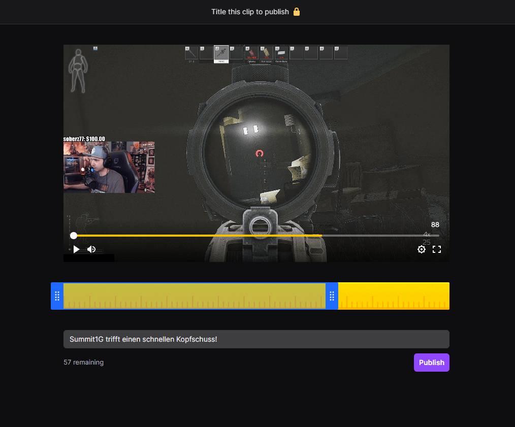 Twitch Clip-Nutze die blauen Regler um das Video wie erwünscht zu schneiden.