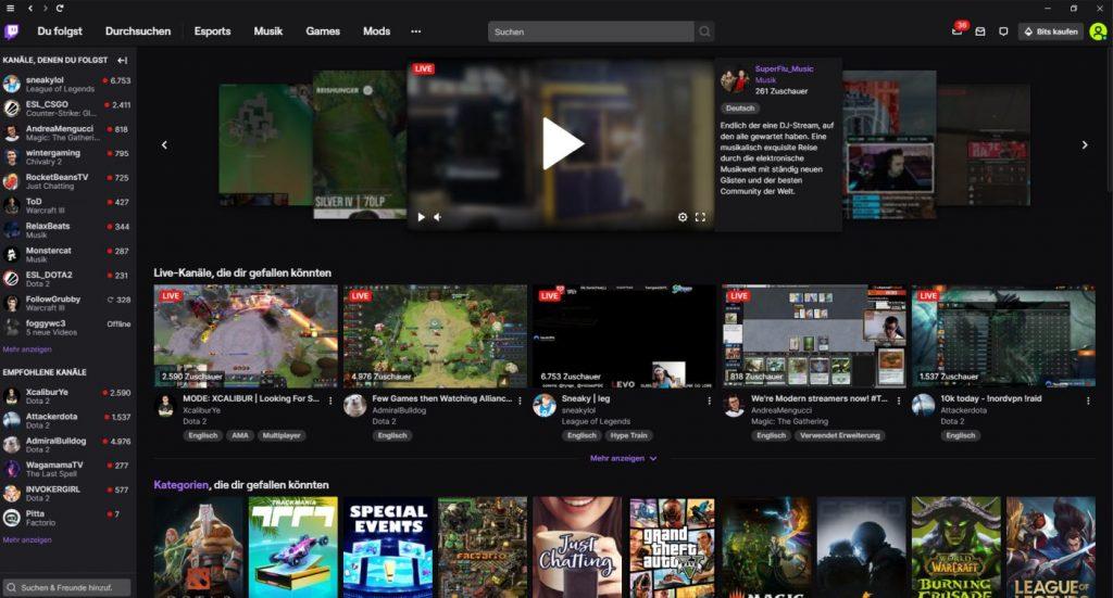 Der Twitch-Launcher ähnelt der Browser-Ansicht stark.